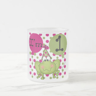 Pink Frog 1st Birthday Tshirts and Gifts Frosted Glass Coffee Mug