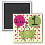 Pink Frog 1st Birthday Tshirts and Gifts Fridge Magnets