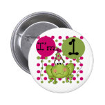 Pink Frog 1st Birthday Tshirts and Gifts Pins