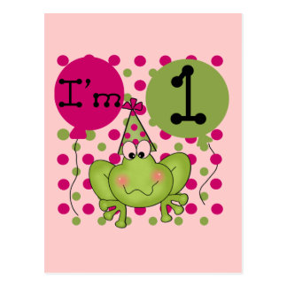 Pink Frog 1st Birthday Tshirts and Gifts Postcard