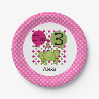 Pink Frog 3rd Birthday Paper Plates