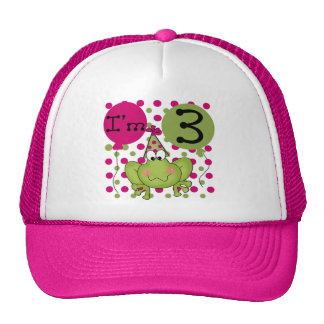 Pink Frog 3rd Birthday Tshirts and Gifts Mesh Hats