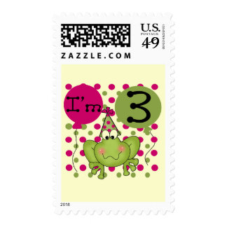 Pink Frog 3rd Birthday Tshirts and Gifts Postage Stamp