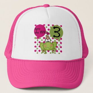 Pink Frog 3rd Birthday Tshirts and Gifts Trucker Hat