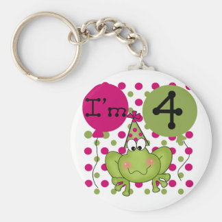Pink Frog 4th Birthday Tshirts and Gifts Basic Round Button Keychain
