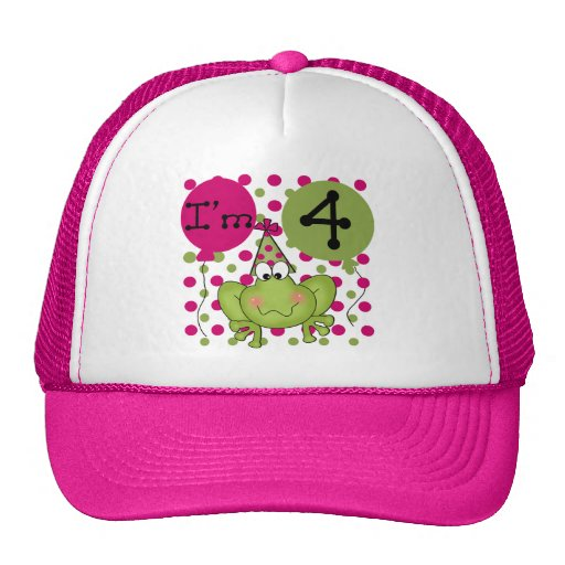 Pink Frog 4th Birthday Tshirts and Gifts Mesh Hat
