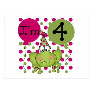 Pink Frog 4th Birthday Tshirts and Gifts Postcard