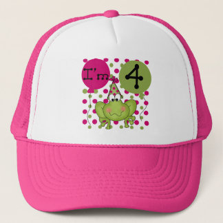 Pink Frog 4th Birthday Tshirts and Gifts Trucker Hat