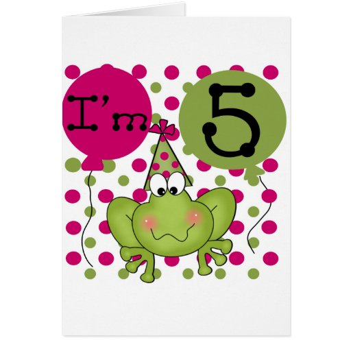Pink Frog 5th Birthday Tshirts and Gifts Cards