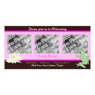 Pink Frog and Lotus Birth Announcements
