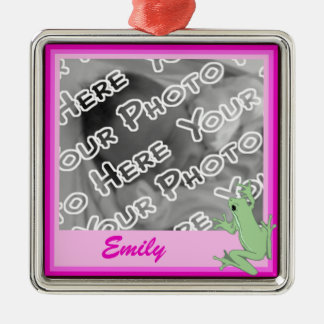 Pink Frog and Lotus Ornament