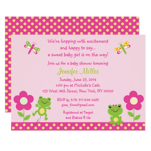 Pink Frog Baby Shower Card