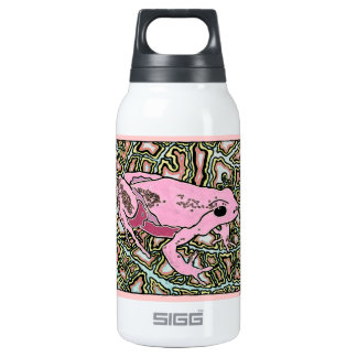 Pink frog sitting on a blue and gold leaf insulated water bottle