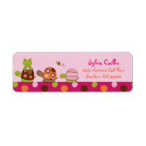 Pink Frog Turtle Baby Shower Address Labels