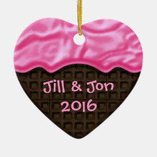 Pink Frosted Chocolate Sweet Heart Custom Photo Ceramic Ornament