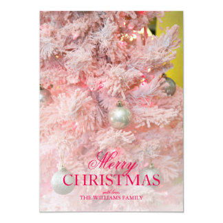 Pink frosted Christmas tree with gold ornaments Card
