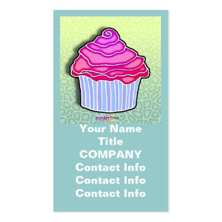 Pink Frosted CUPCAKE BUSINESS CARDS in Blue