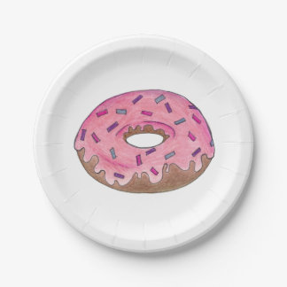 Pink Frosted Donut Doughnut w/ Sprinkles Plates