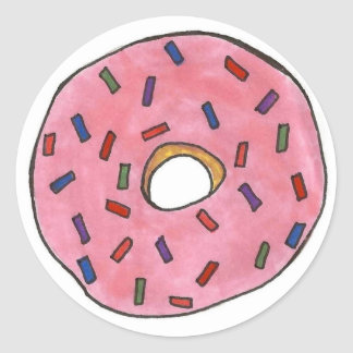 Pink Frosted Donut with Sprinkles Classic Round Sticker