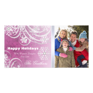 Pink Frosted Flourishes Holiday Photo Card