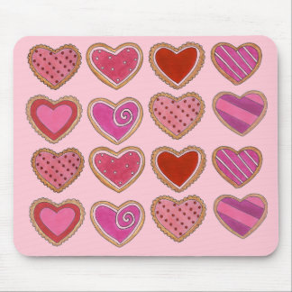 Pink Frosted Heart Cookies Love Valentine's Day Mouse Pad