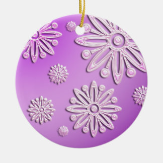 pink frosted snow flakes round ornament