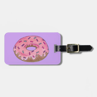 Pink Frosted Sprinkles Donut Doughnut Luggage Tag