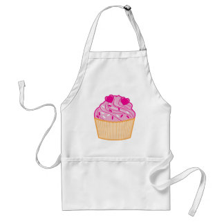Pink-Frosted Vanilla Cupcake with Sprinkles Adult Apron