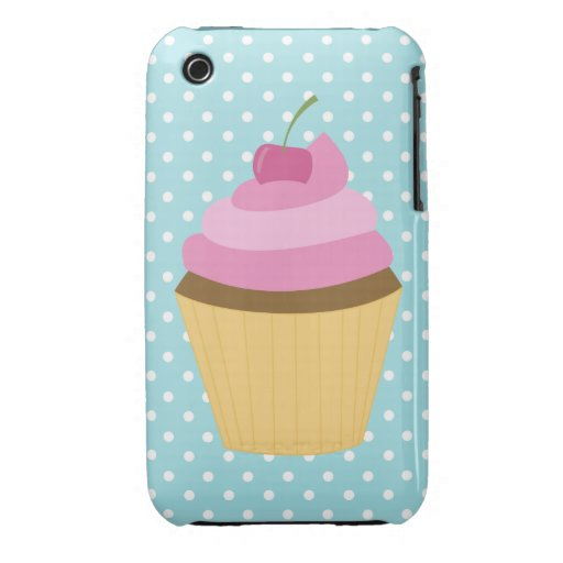 Pink Frosting Cherry Cupcake Illustration iPhone 3 Case-Mate Case