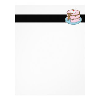 pink frosting chocolate cake letterhead