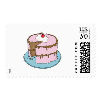 pink frosting chocolate cake postage