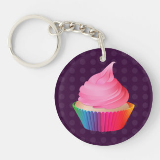 Pink Frosting Rainbow Vanilla Party Cupcake Double-Sided Round Acrylic Keychain