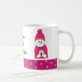 Pink Frosty Snowman with Hot Chocolate Coffee Mug