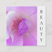 *~* Pink Fuchia Beauty Violet Rose Floral Salon Square Business Card