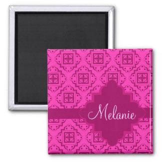 Pink Fuchsia Arabesque Moroccan Graphic 2 Inch Square Magnet