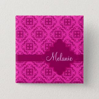 Pink Fuchsia Arabesque Moroccan Graphic Button