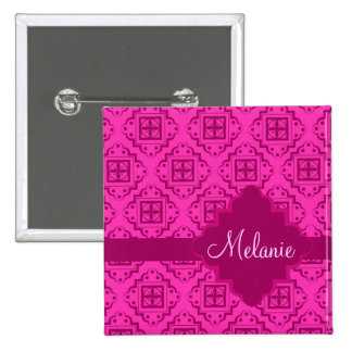 Pink Fuchsia Arabesque Moroccan Graphic Button