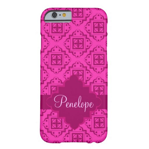 Pink Fuchsia Arabesque Moroccan Name Personalized Barely There iPhone 6 Case