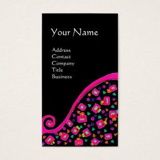 PINK FUCHSIA BLACK ABSTRACT DECO MONOGRAM BUSINESS CARD