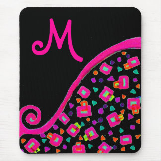 PINK FUCHSIA BLACK ABSTRACT DECO MONOGRAM MOUSE PAD