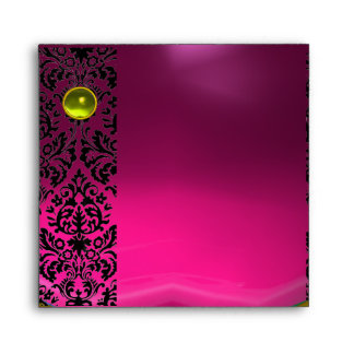 PINK FUCHSIA BLACK DAMASK Purple Amethyst Gold Envelope