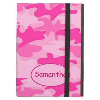 Pink Fuchsia Camo Camouflage Name Personalized iPad Air Cover
