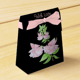 Pink fuchsia flower with leaves water colour art favor box