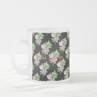 Pink fuchsia flower with leaves water colour art coffee mugs