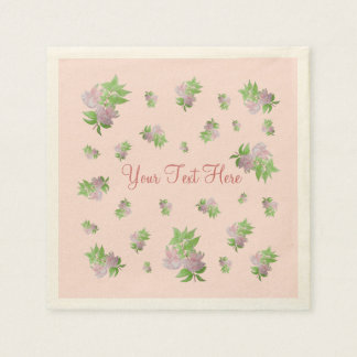 Pink fuchsia flower with leaves water colour art disposable napkin