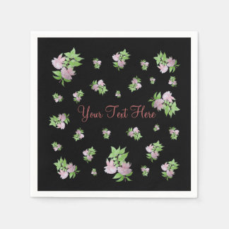 Pink fuchsia flower with leaves water colour art paper napkins