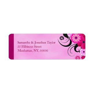 Pink Fuchsia Hibiscus Return Address Labels Favors