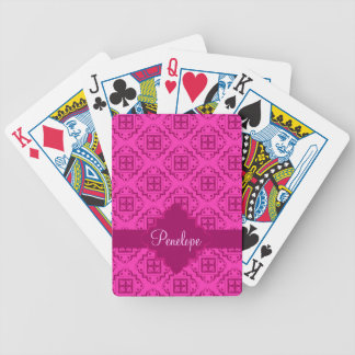 Pink Fuchsia& Magenta Arabesque Moroccan Graphic Bicycle Playing Cards
