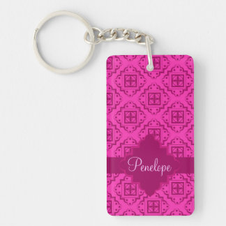 Pink Fuchsia& Magenta Arabesque Moroccan Graphic Keychain