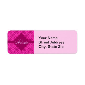 Pink Fuchsia & Magenta Arabesque Moroccan Graphic Label